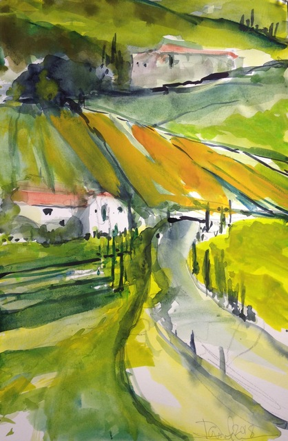 Wine Tour By Daniel Clarke, Watercolor Painting