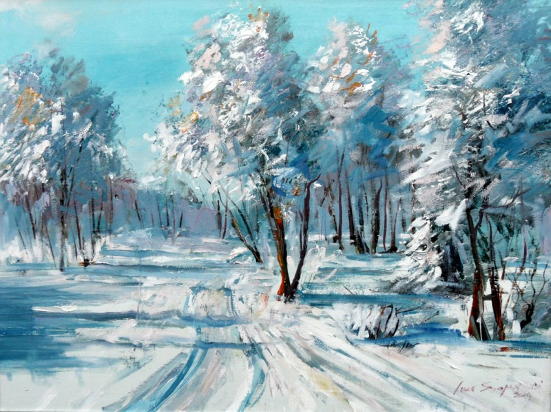 Winter By Ivan Stojanovic, Oil Painting