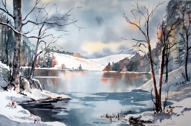 Winter By JE. Ward, Watercolor Painting - Art
