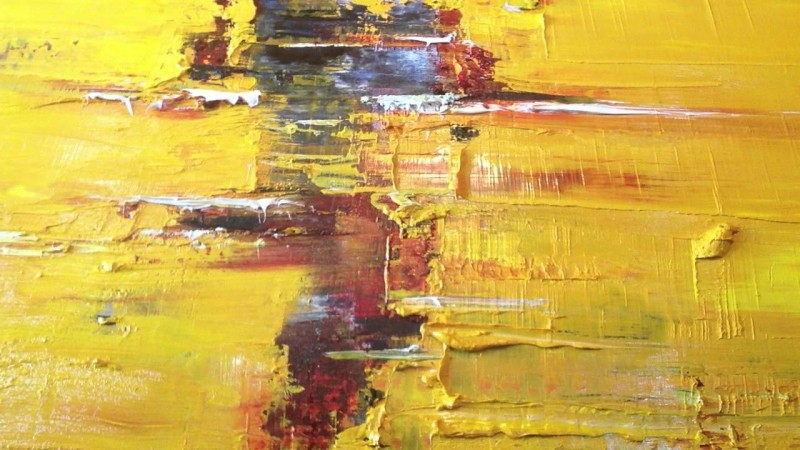 Yellow Abstract By Patrick John Mills, Oil Painting