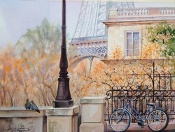 Paris By Igor Dubovoy, Watercolor Painting