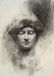 Statue By Chien Chung Wei, Charcoal Drawing