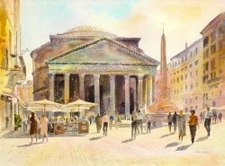 The Pantheon Rome Painting By Alan Reed, Watercolor Painting