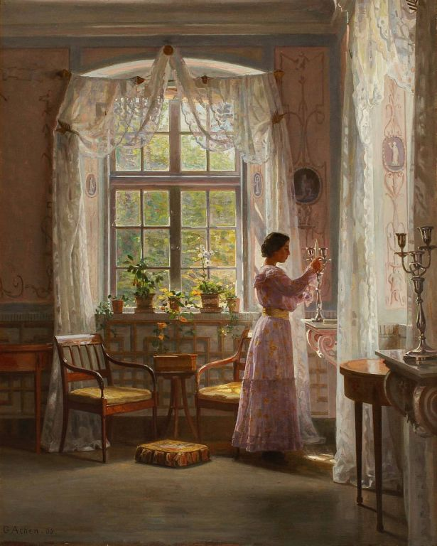 Interior Liselund Castle By Georg Achen, Oil Painting