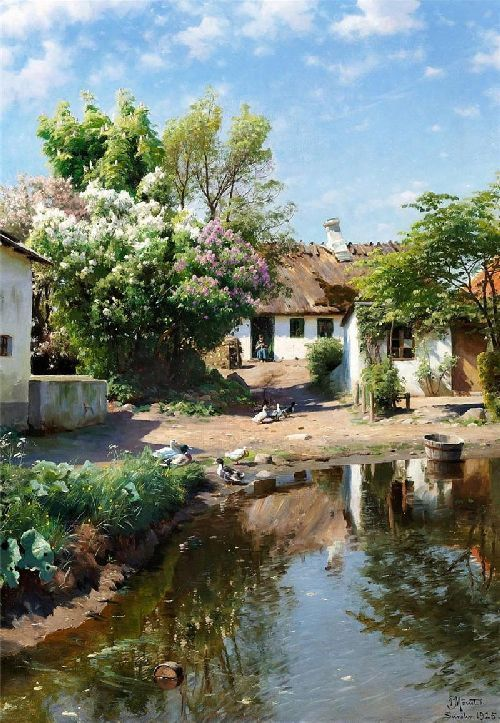 Spring Day At A Thatched House With Blooming Lilacs By Peder Mork Monsted, Oil Painting