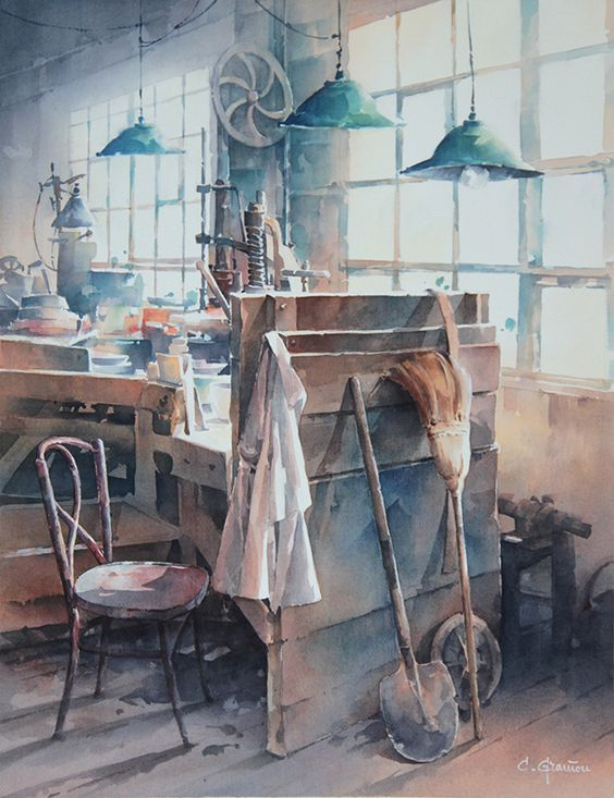 Old Workshop By Christian Graniou, Watercolor Painting