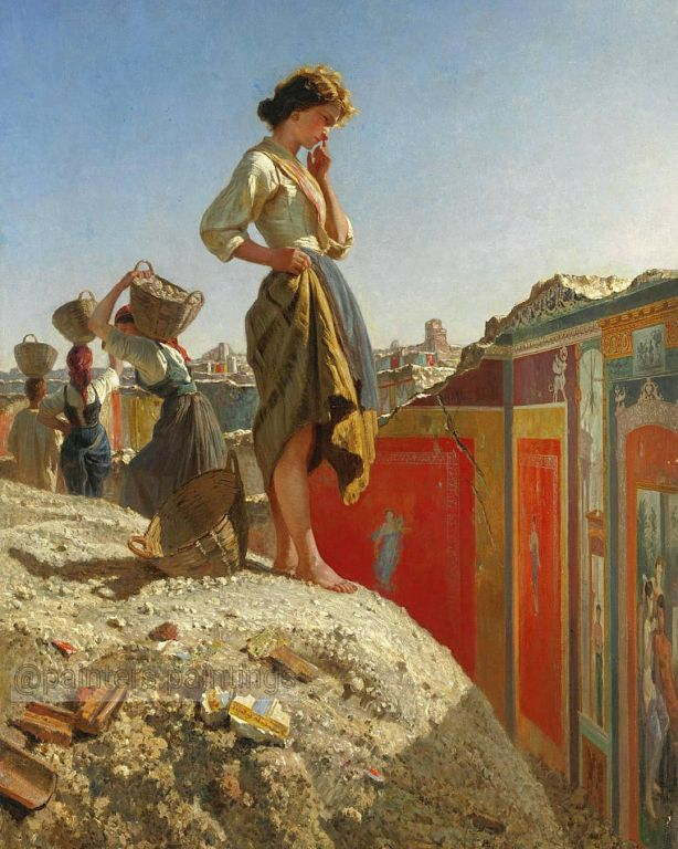 The Excavation of Pompeii By Filippo Palizzi, Oil Painting