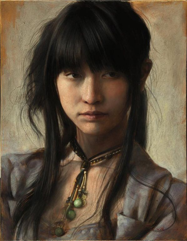 Japanese Girl By By Osamu Obi, Oil Painting