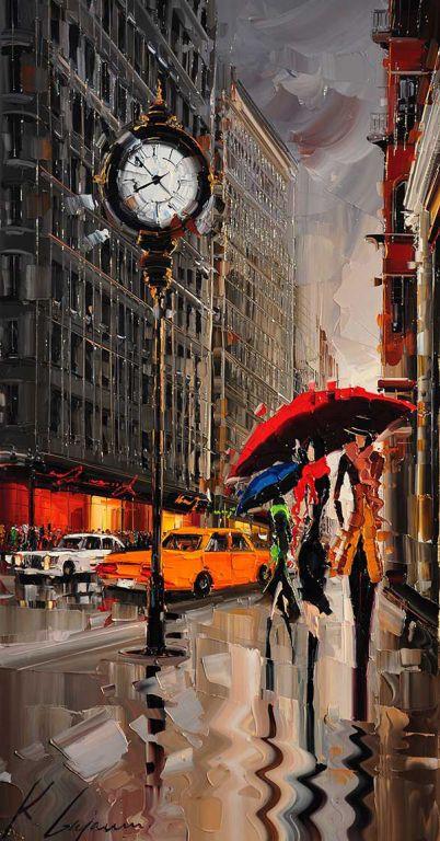 Newyork By Kal Gajoum, Oil Painting