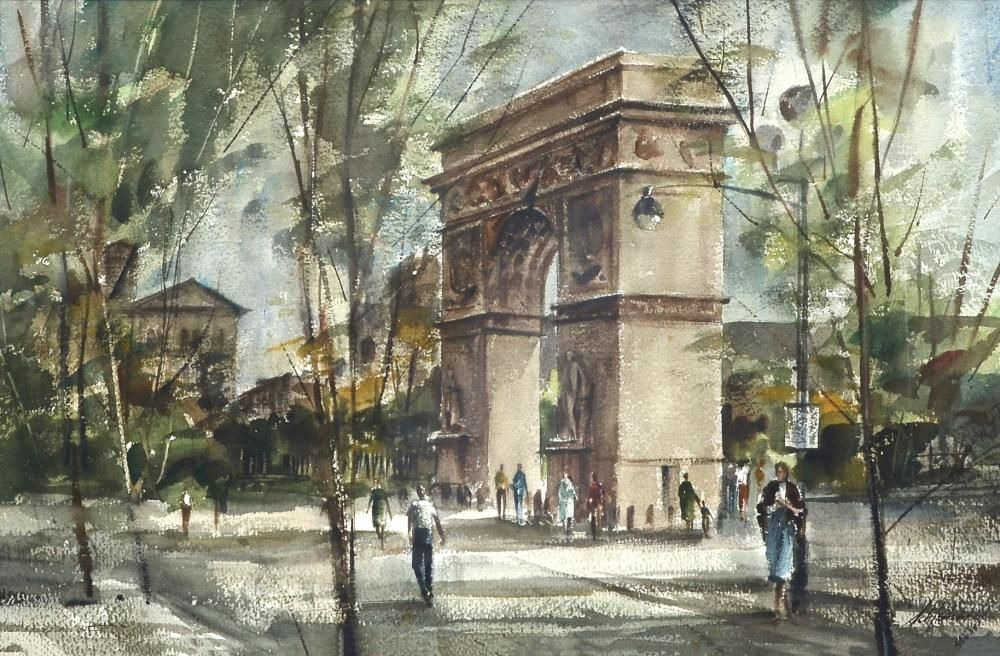 Washington Square Park New York City By Betty Schlemm, Watercolor Painting