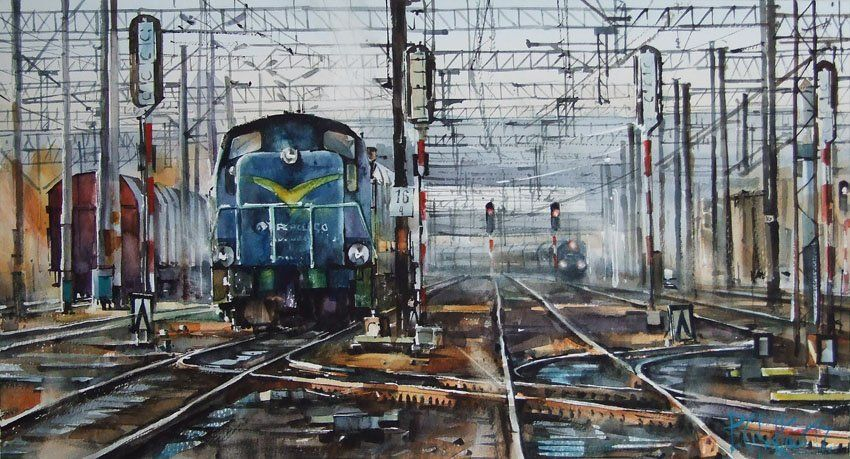 Wroclaw Freight Station IV By Pawel Gladkow, Watercolor Painting