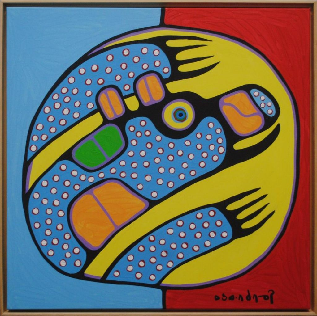 Bear in Blue Dots By Norval Morrisseau, Acrylic Painting