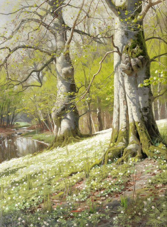 A Spring Morning By Peder Mork Monsted, Oil Painting