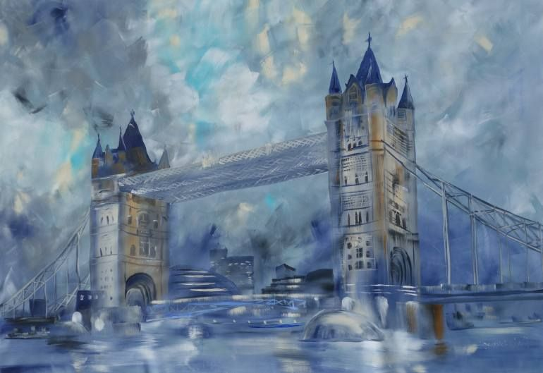 London Bridge By Ksavera, Acrylic Painting