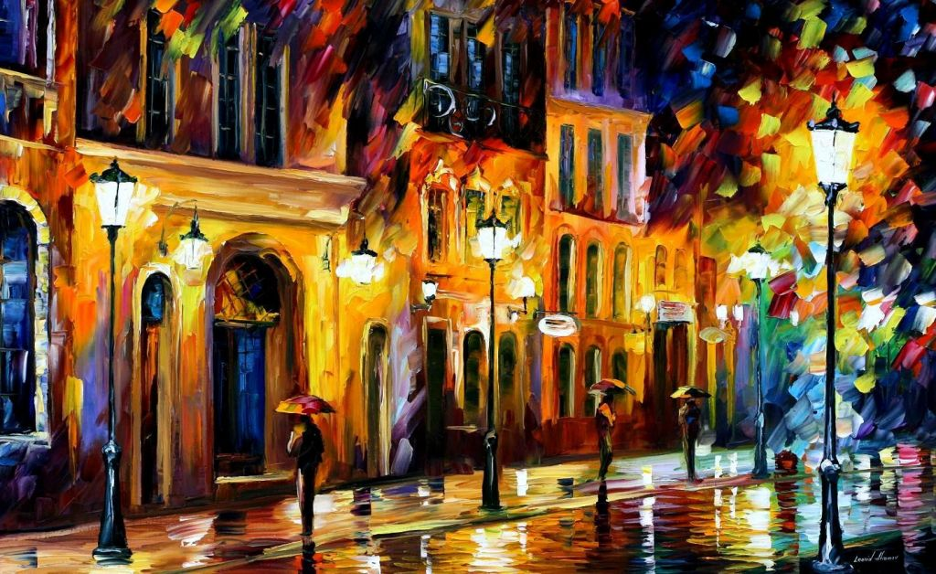 When The City Sleeps By Leonid Afremov, Oil Painting