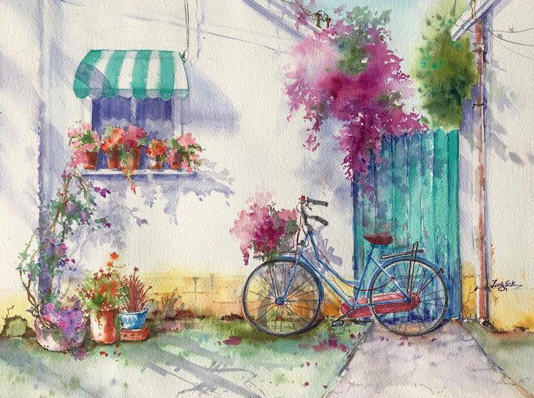 Sunny Day By Jungsook Hyun, Watercolor Painting
