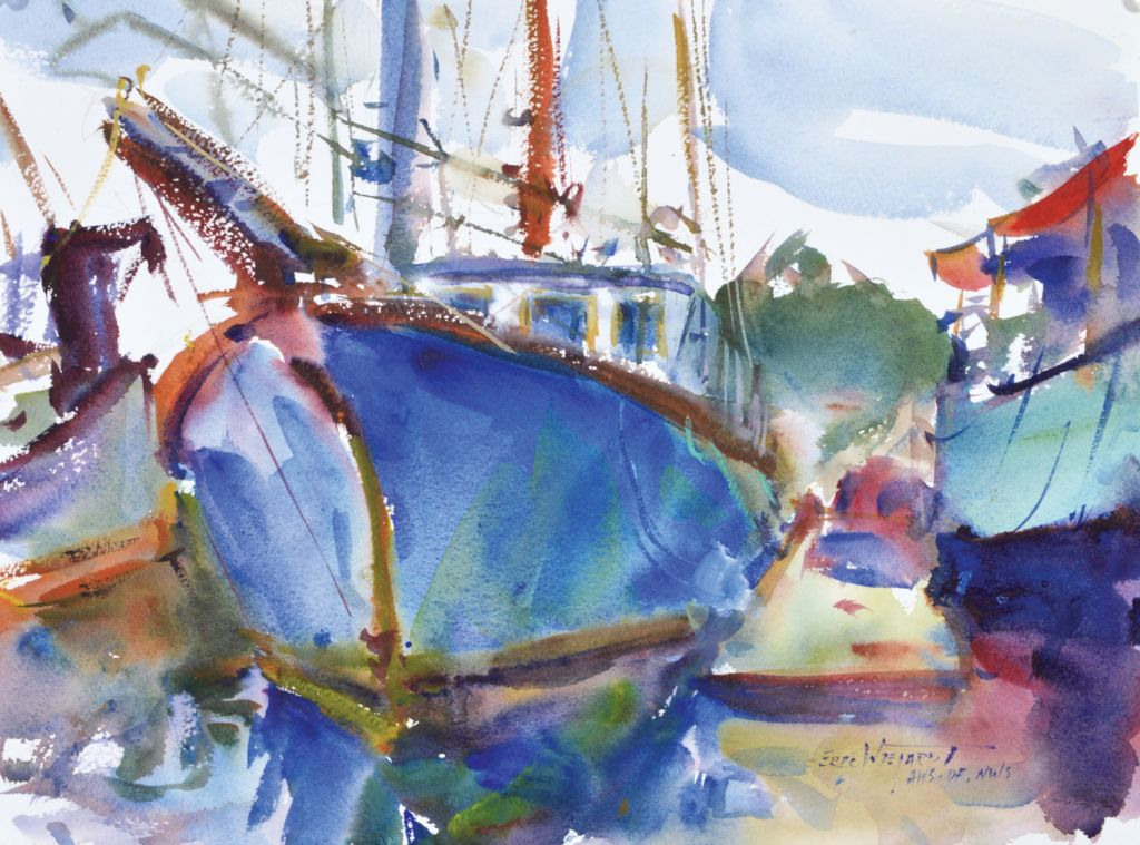 Boats By Eric Wiegardt, Watercolor Painting