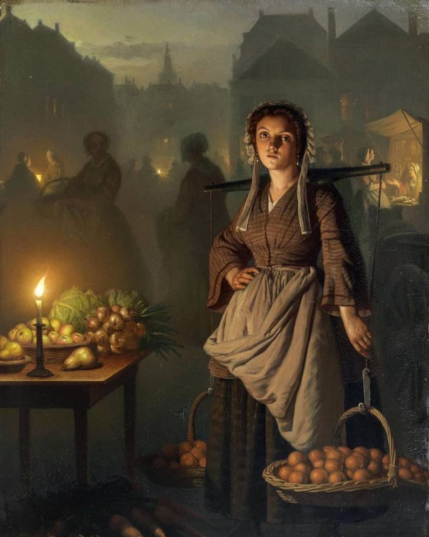 Market by Candlelight By Petrus van Schendel, Oil Painting