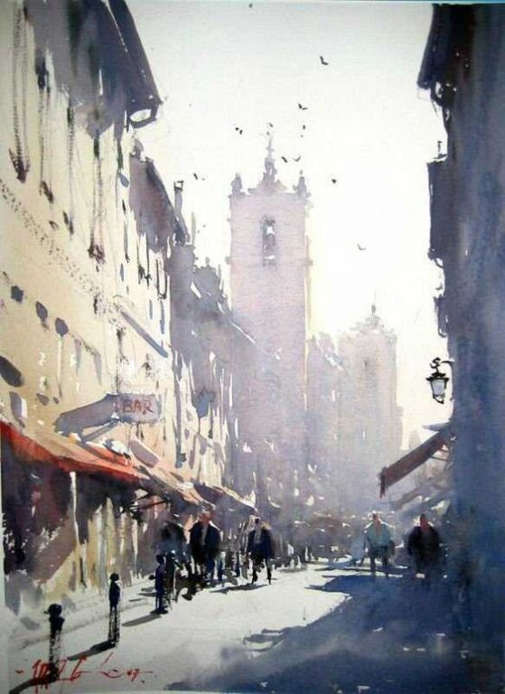 Beautiful Street by Joseph Zbukvic, Watercolor Painting