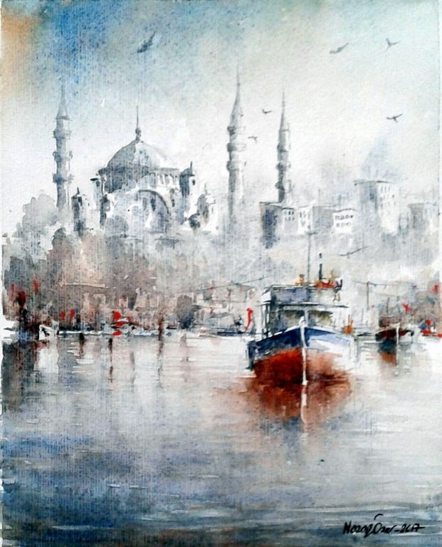 Eminonu By Nazan Ozer, Watercolor Painting