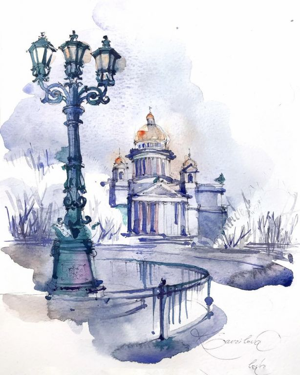 St. Petersburg Tula By Gavrilova Kristina, Watercolor Painting
