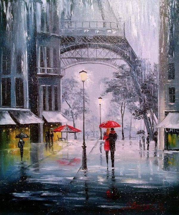 The First Snow in Paris By Olga Darchuk, Oil Painting