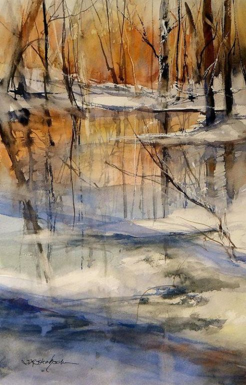 Evening Thaw By Sandra Strohschein, Watercolor Painting