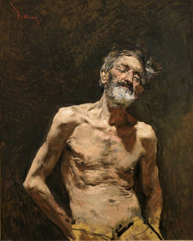 Nude Old Man In The Sun By Mariano Fortuny Marsal, Oil Painting