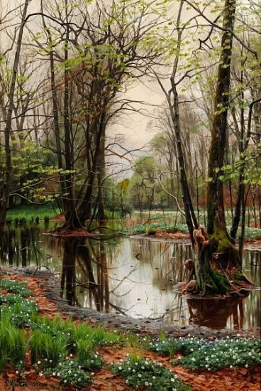 Spring Day In The Forest By Peder Mork Monsted, Oil Painting