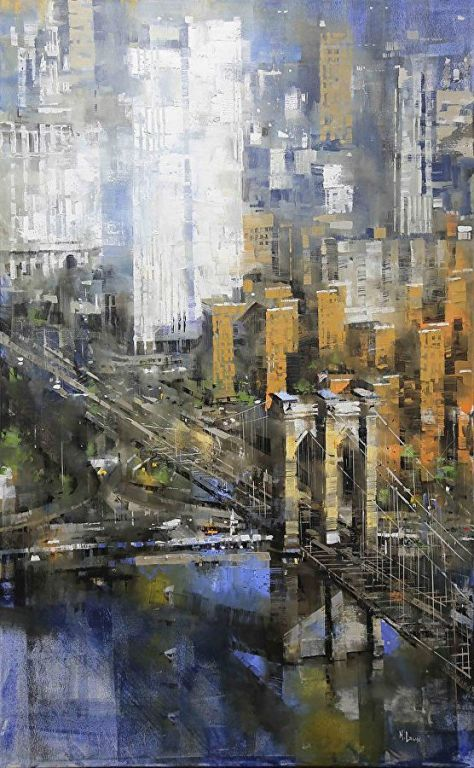 Brooklyn Bridge By Mark Lague, Oil Painting
